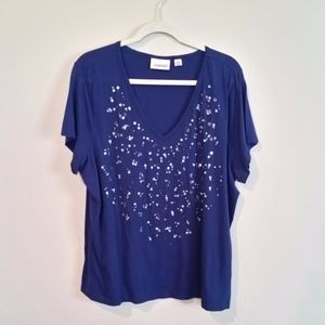 Avenue Royal Blue Tee with BLING detail 22/24